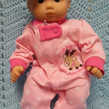"American Girl BITTY BABY clothes ""No Day Like A Snow Day"" (15 inch) Christmas doll outfit with sleeper and headband/ hair clip  reindeer"