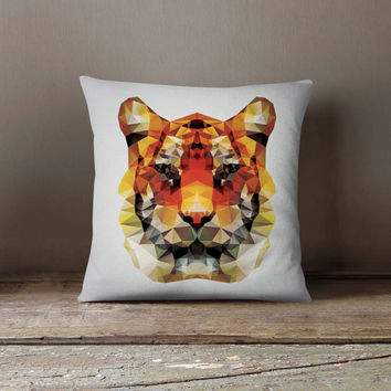 Geometric Tiger Pillowcase | Decorative Throw Pillow Cover | Cushion Case | Designer Pillow Case | Birthday Gift Idea For Him & Her