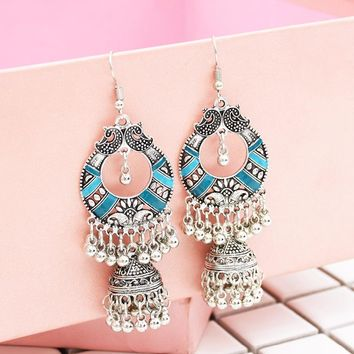 India Ethnic Egypt Silver Gold Tassel Fringe pendientes Hippie Earrings Statement For Girl Tribal pakistan Gypsy Turkish Jewelry