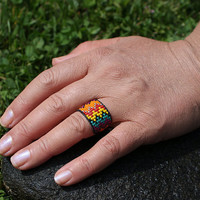 Missoni designer style Tiniest Micro Seed Bead Band Ring ... your size or adjustable