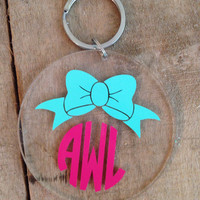 Monogrammed bow keychain