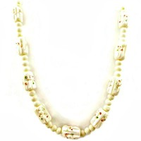 Art Deco Carved Celluloid Necklace Long Single Strand 1930's Off White with Red and Green Spots