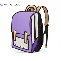 RUNNINGTIGER Women backpack 3D anime bag Cartoon Men Backpack School Bag 3D Style Travel Drawing Book mochila for teenage girls