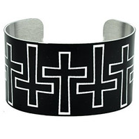 Outlined Gothic Cross Cuff Bracelet White on Black Metal Design Jewelry