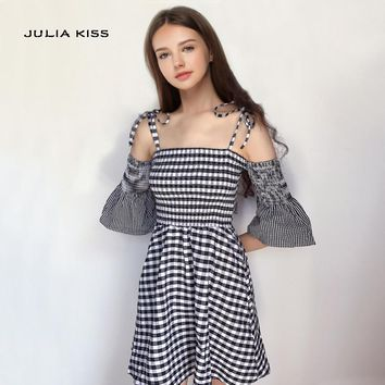 Women Bell Sleeve Checkered Mini Cami Dress Tie Cold Shoulder Gingham Print Cami Dresses