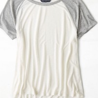 AEO Women's Shimmer Sleeve Baseball T-shirt