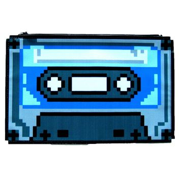 Upcycled Vinyl Classic Retro Cassette Tape Shaped Pixel Clutch Bag | DOTOLY
