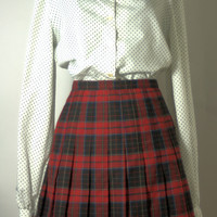 Vintage 1970's Plaid Skirt by Briggs of NY USA Size L