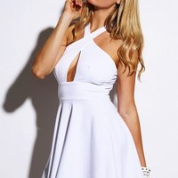 Trendy Cute bright white wrap front open zip back A line party mini dress for cheap. Womens Clothing -1015store