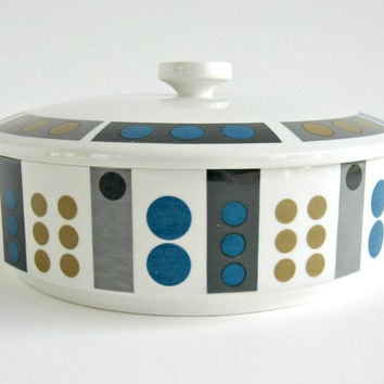 Modernist Midwinter Tempo Covered Vegetable Dish / Serving Bowl / Casserole / Geometric Op Art Design / Mid Century Modern
