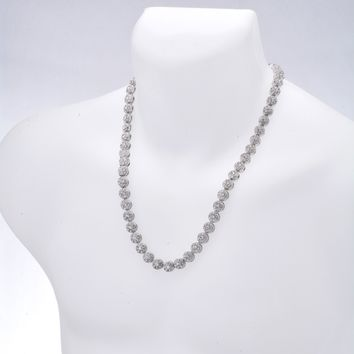"""Jewelry Kay style Men's Hip Hop 1 Row Stoned Flower Shape Iced Out 10 mm 24"""" CZ Chain Necklace"""