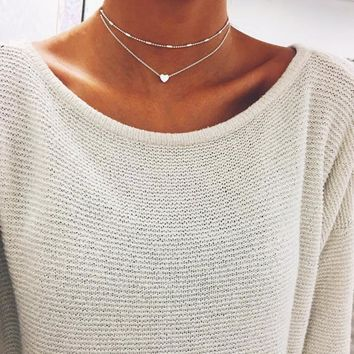 Simple Boho Gold Color Silver heart Bead Multilayer Necklace Chockers For Women Bijou Necklaces Pendants Stratification Chokers