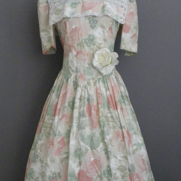 50% Off Dress SALE Vintage 80s Dress / does 50s Jade Peachy Pink Rose Portrait Collar English Garden Tea Party Fit n Flare Swing