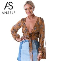 Fashion Floral Print Women Blouse V Neck Long Sleeve Chiffon Shirt Casual Women Tops Sexy Crop Top