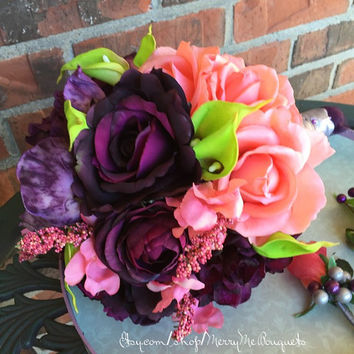 Purple and Coral wedding bouquet. Multicolor bouquet. True touch roses, silk hydrangea and true touch mini citrus green calla lilies.