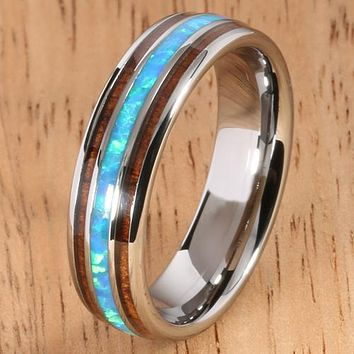 Koa Wood Opal Tungsten Two Tone Wedding Ring Triple-row Center Opal 6mm Barrel Shape Hawaiian Ring