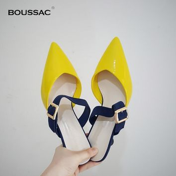 Boussac Mixed Color Geometric Heel Women's Mules Stylish Pointed Toe High Heel Sandals Women's Elegant Buckle Shoes
