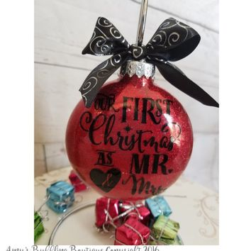 Wedding Gift for Couple - Personalized Christmas Ornament Xmas Tree Ornament Hanging Bauble with Ribbon White Elephant Gift Box Included