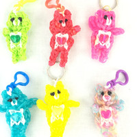 6 Carebear Key Chain Party Favors Turquoise Red Pink Yellow Green Multiglitter Rainbow Loom Handmade Rubber Band Fill Goodie bags