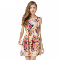 SIMPLE - Popular Women's Fashionable Floral Sleeveless Chiffon Spaghetti Strap Party Beach Summer Dress b3043