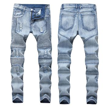Men Ruffle Ripped Holes Stretch Jeans [1563339030621]