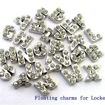 10pcs/ lot English Alphabet letters A-S floating memory charms hot sale floating charm fit living memory floating locket as gift