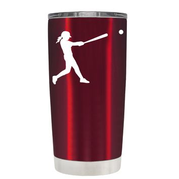 TREK Softball Girl at Bat on Translucent Red 20 oz Tumbler Cup