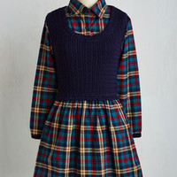 Scholastic Mid-length Long Sleeve A-line Smart of Something New Dress