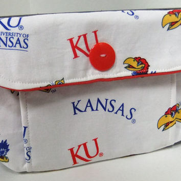 KU medium Pleated Pouch made by me using licsenced KU Jayhawks fabric