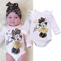 Cute Newborn Infant Baby Girl Clothes Cotton Long Sleeve Cotton Bodysuit Cartoon Outfit 0-18M