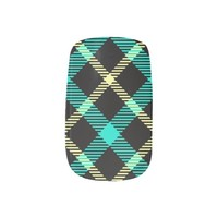 modern chic yellow pattern turquoise Tartan plaid