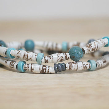 Blue and Brown Recycled Book Bead Paper Bracelet Set Made With Recycled Book Pages