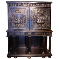 Fabulous 17th Century Carved Ebony Cabinet on Stand, Paris, France, circa 1640