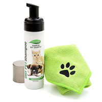 All Natural, Waterless, No Rinse, Dry Foaming Shampoo For Dogs, Cats, Ferrets And Rabbits.  Easily Clean All Coat Types While Removing Offensive Odors.  Comes With A Free Microfiber Pet Towel.
