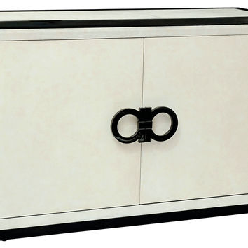 "Omega 60"" Credenza, Black/Ivory, Buffets & Sideboards"