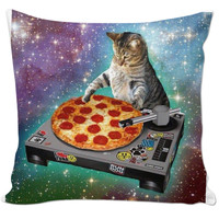 Cat djing a pizza pillow