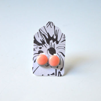 Stud Earrings - Grey and Peach Blush Stud Earrings - Tiny Stud Earrings - Post Earrings - Colorful Earrings - Handmade Enamel Jewelry Studs