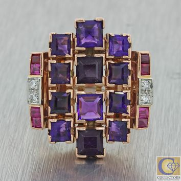 1930s Art Deco Estate 14k Rose Gold Amethyst Ruby Diamond Large Cocktail Ring