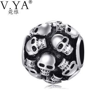 Skull Charms Beads fit Pandora Necklace Bracelet for Man Jewelry DIY Chain with Cool S