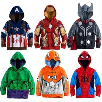 Boys Hoodies Avengers Marvel Superhero Iron Man Thor Hulk Captain America Spiderman Sweatshirt for Boys Kid Cartoon Jacket 3-8T
