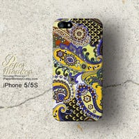 Yellow and blue Purple indian abstract floral, iPhone 5/5S case, iPhone 4S case, Decoupage case for iPhone.