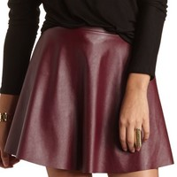 Faux Leather Mini Skater Skirt