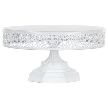 12 Inch Round Metal Wedding Cake Stand (White)