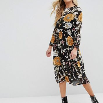 Boohoo High Nick Floral Midi Dress at asos.com