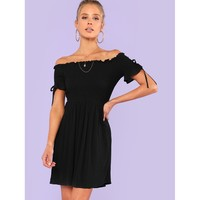 Bow Tie Detail Shirred Bodice Frilled Dress