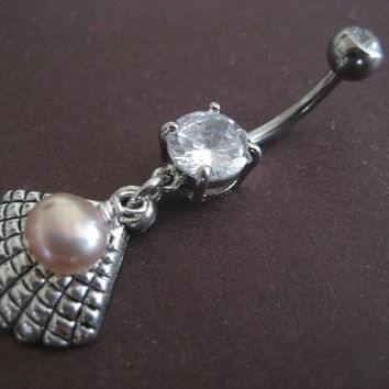 Belly Button Jewelry- Oyster Ring Clam Pearl Seashell Sea Shell Charm Dangly Navel Bar Piercing