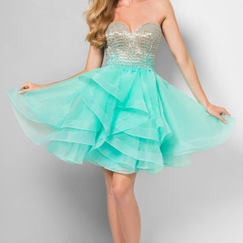 Terani Couture - Ombre Beaded Bodice Lace Back Short Prom Dress 1711P2234