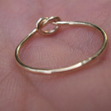Etsy jewelry, Gold knot ring, love knot ring, 14kt, solid gold, sizes 8.5 and up available, 18g, dainty, pinky ring, strong, luxury