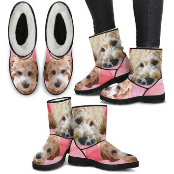 Goldendoodle Print Faux Fur Boots For Women- Free Shipping