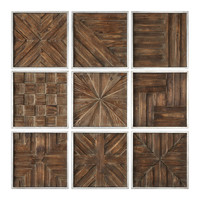 Uttermost Rustic Wooden Square Wall Art (Set of 9)